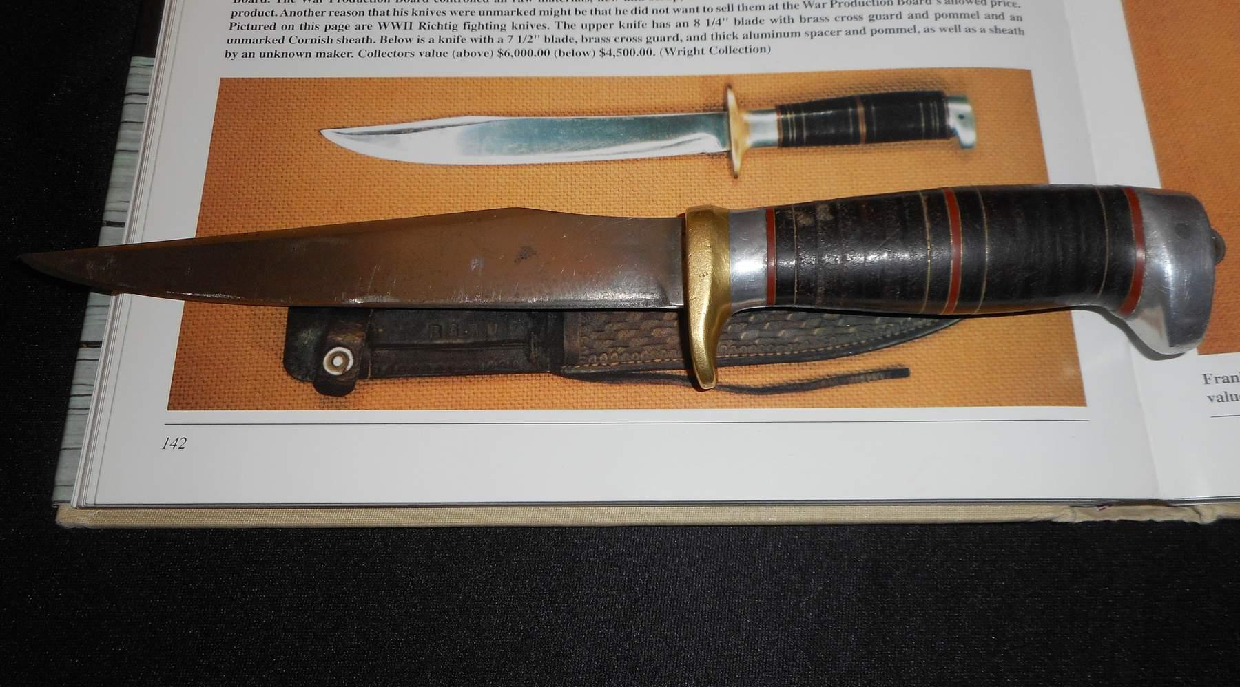 WW2 Frank Richtig Knife -Antique/FJR CLARKSON NEB/WW II -Old Combat