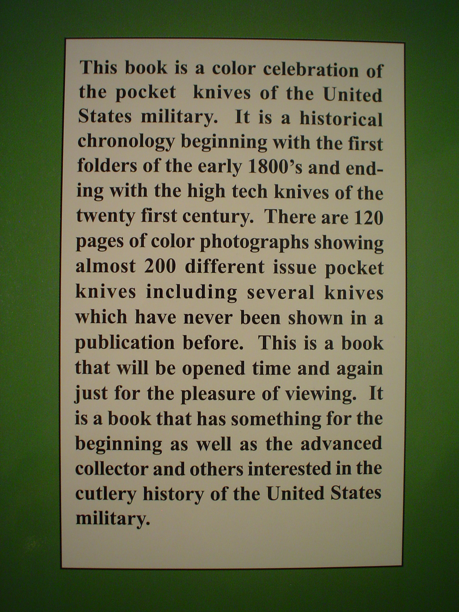 Pocket Knives Of The United States Military Reference