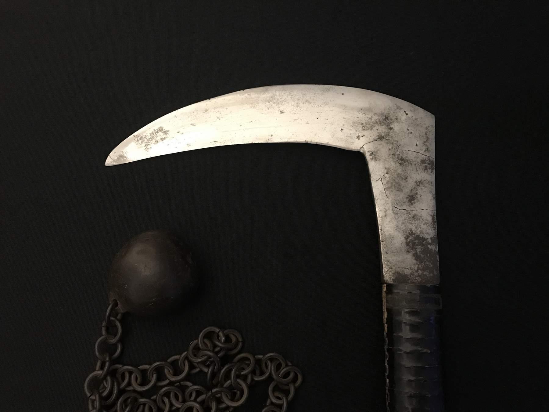 Antique Japanese Samurai Kusarigama Sickle & Chain -Old