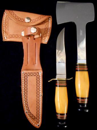 Antique Jean Case Hatchet Knife My65 Hunting Combo Set Axe